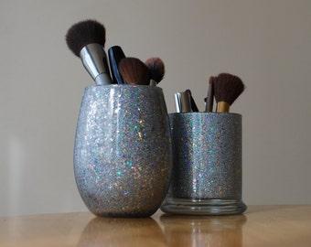 Extreme Glittered Silver Holographic Desk Accessory - Makeup Brush Holder - Desk Organizer - Pencil Holder