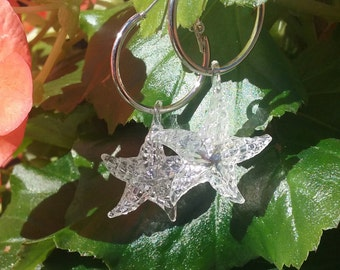 Silver hoop pierced earrings with clear opalescent starfish charms beach dangle