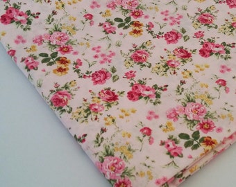 Pink Roses and Yellow Flowers Cotton Fabric
