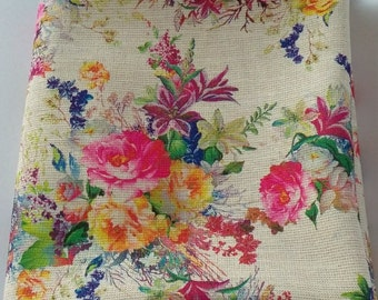 Bright and Colorful Flower Bouquet Calico Cotton Fabric