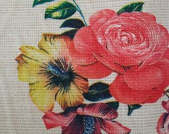Red and Yellow Flower Bouquet Calico Cotton Fabric CALICT002