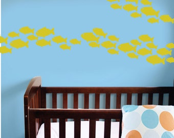 School of Fish decal set for nursery wall - 75 pieces in 3 sizes