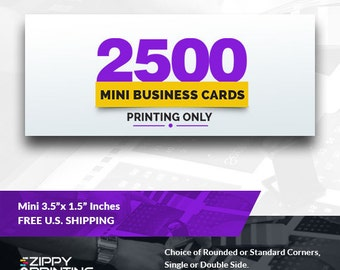 "2500 Mini Business Cards 3.5"" x 1.5"" , Mini Business Cards Printing Rounded Corners, Matte or Glossy"