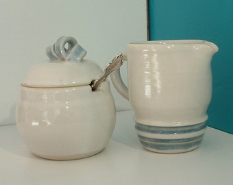 Cream and Sugar Set, Handmade Cream and Sugar Set, Porcelain Cream and Sugar Set, White Cream and Sugar Set