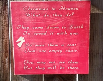 Christmas Signs - Christmas in Heaven Sign - Christmas In Heaven - Holiday Decor - Christmas Decorations - Christmas Gifts - Xmas Decor