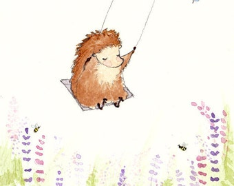 Hedgehog Art Print, Children's Wall Art, Print, Green, Nursery Art, Animal Art, Kid's Wall Art