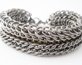 Stainless Steel & Brass Chainmaille Bracelet Beowolf \  Mod Mens Bracelet \ Boyfriend gift \ Rock Style Unique bracelet  Wide Cuff