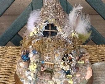 FAIRY COTTAGE - Fairy House - Fairy Habitat - Pixie- Woodland Cottage - Fairy Dwelling - Fantasy - Magical - Shell Cottage - Free S/H