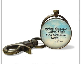 CS Lewis Quote keychain Keyfob CS Lewis Quote necklace Inspirational Jewelry Chronic Illness Pain AA Recovery Cancer Survivor Life quote