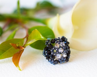 Swarovski crystal ring –  unique crystal ring - steel grey and black - beaded