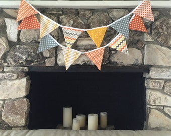 Gray Mustard Yellow and Orange Fabric Bunting Banner for Nursery, Kid's Room or Fall Decor