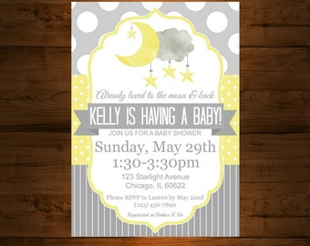 Moon And Stars Baby Shower Invitation, I Love You To The Moon And Back, Neutral Baby Shower, Grey And Yellow, Twinkle Twinkle Little Star
