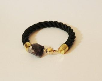 Black rope bracelet with natural amethyst