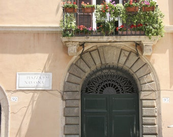 """Door in Rome, Color Photography, """"Roma 1"""", Photographic Matte Paper, Windows and Doors, Piazza Navona, Architecture, Italy."""
