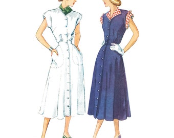 Vintage Sewing Pattern 1940s 1948 Women's Swing New Look Dress Simplicity 2390 Size 14 Bust 32