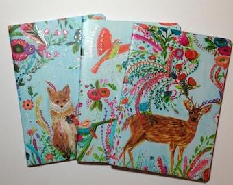 Notebook Trio 'Gold Foil Forest Fauna'