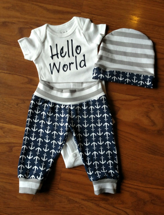 Go Hello World: Baby Boy Coming Home Hello World Anchor Outfit Onesie Hat