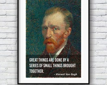 Vincent Van Gogh, Quote poster, Typographic print, Inpirational Genius Quote, Sizes A4-A0