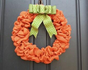Burlap handmade fall wreath