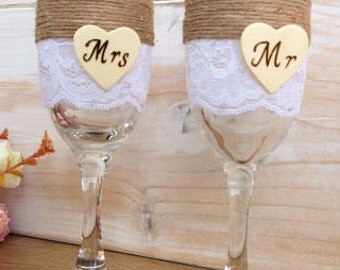 Wedding Toasting Glasses Personalized Rustic Wedding Mr MRs Flutes Champagne Glasses