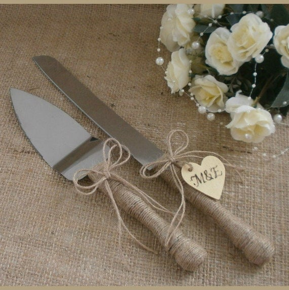 Wedding Cake Server Set and Knife Rustic Wedding Cake Serving