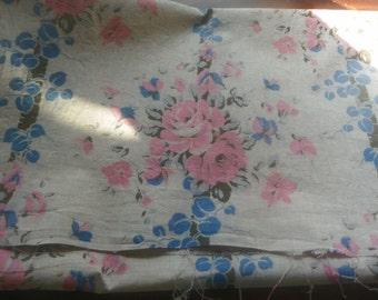 Vintage Pink & Blue Linen Fabric