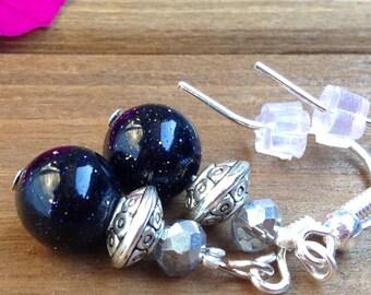 Blue Sandstone Dangle Earrings