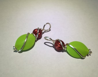 Christmas Red/Lime Green Dangles with Wire Accent