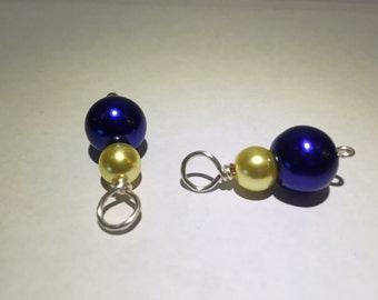 Blue and Yellow Stacked Earring Dangles