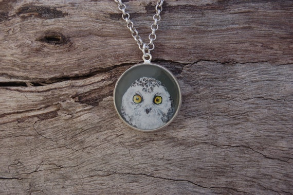 Hand Painted Snowy Owl Pendant