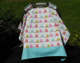 Car Seat Canopy/ Owls on a vine/ Infant car seat cover