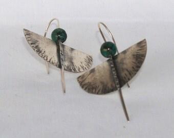 Unique handmade oxidized silver earrings, turquoise (AFR)  earrings, gemstone  dangle earrings,long geometrical semicircle  earrings