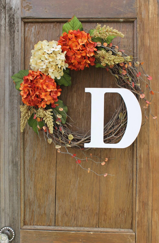 Fall Wreath Initial Wreath Hydrangea Wreath Fall Hydrangea