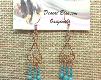 Copper chandelier earrings with turquoise magnesite beads