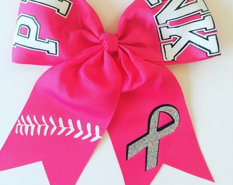 Softball Bow / Cheer Bow / Volleyball Bow / PINK Awareness Softball Hair Bow