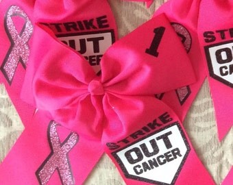 Pink Strike Out Cancer Bow Softball Hair Bow / Softball Bow / Cheer Bow / Volleyball Bow