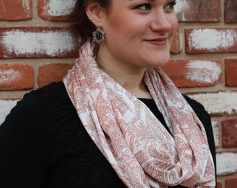 Ladies Pink, orange tone and white silky, classy printed infinity scarf