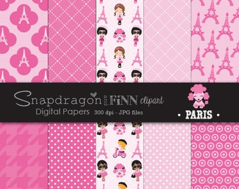 Paris Papers, Eiffel Tower Digital Papers, Paris Girl Digital Papers, Pink Paris Papers, Commercial License Included