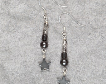 Hematite Star Drop Earrings (023)