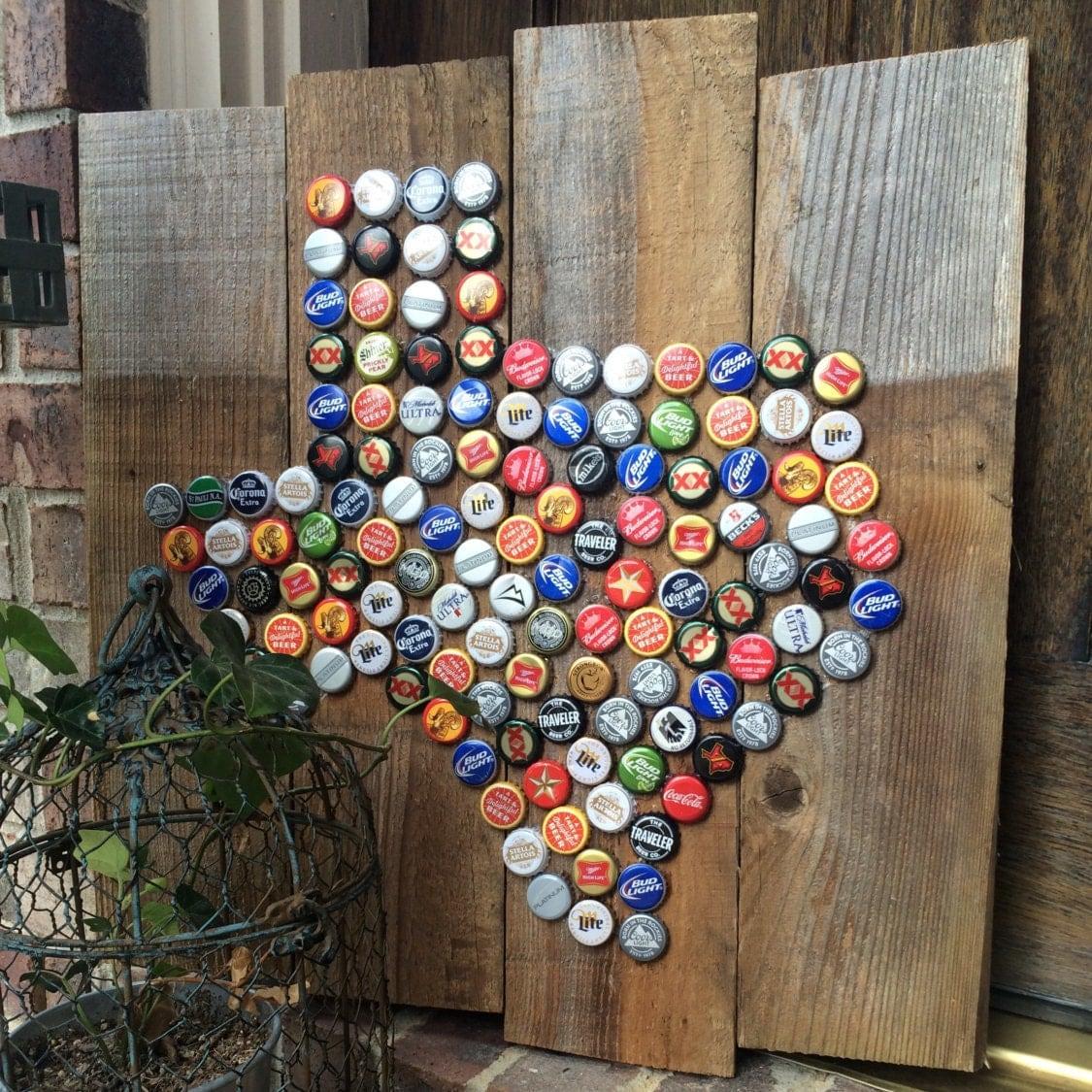 Texas bottle cap art for Bottle cap art how to
