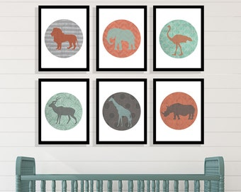 Set of 6 Safari Collection 8x10 or 11x14 or 13x19 with Matte Options