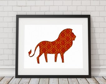 Lion Painted Pattern Print 8x10 or 11x14 with Matte Options