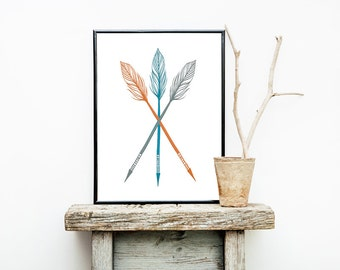 Turquoise Gray and Orange ARROW Wall Art Graphic Print for Boy Nursery 8x10 or 11x14