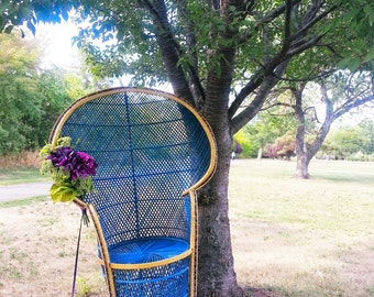 Pick up only*** Up-cycled 1970's Vintage // PEACOCK CHAIR // Wicker Rattan Fan High Back Chair // Bohemian Retro
