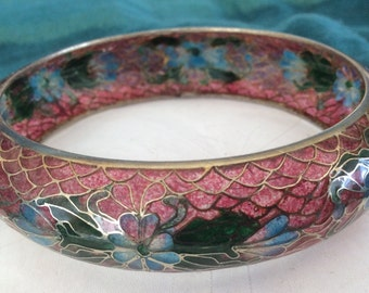 Translucent Cloisonne Plique a Jour (Let Light Through) Chinese Enameled Bangle Bracelet