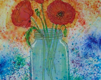 Poppies in a Jar Giclee Print