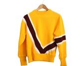 Yellow geometric vintage sweater 80s