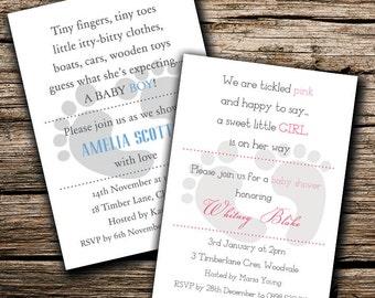 Baby Feet Baby Shower Invitation, Design + Printing, Customizable, A5 (148x210mm)