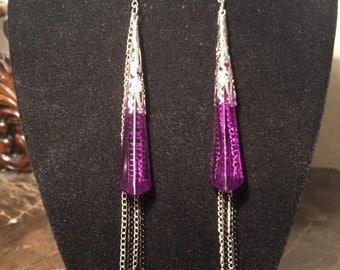Purple Faceted Earrings