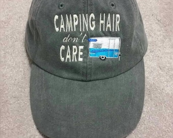1970 Vintage Camper Camping Hair Don't Care Hat